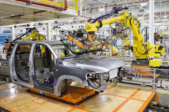Robots attach parts to a Ram 1500 pickup at FCA's Sterling Heights Assembly Plant in Michigan.