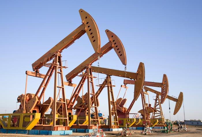 A row of oil pumps.