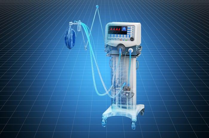 ICU ventilator on a blue background