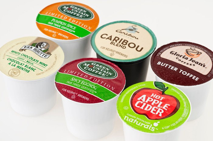 Six different Keurig K-Cups