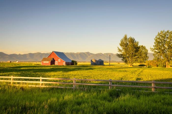 A farmhouse in a rural setting