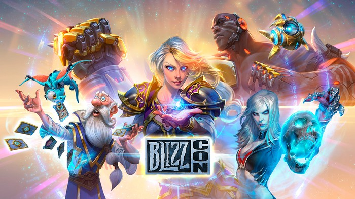 A graphic of Activision Blizzard's in-game characters with the BlizzCon logo displayed at the bottom.