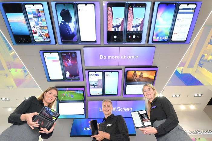 A display of phones using LG Display's screens at CES 2020.