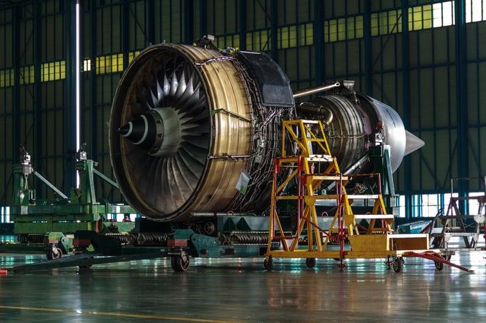 airplane engine under construction