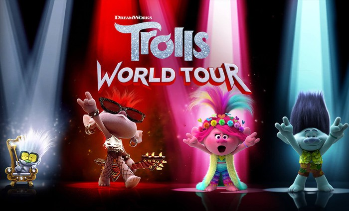 The 'Trolls World Tour' logo and four characters from the film.
