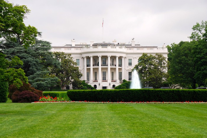 The exterior of the White House.