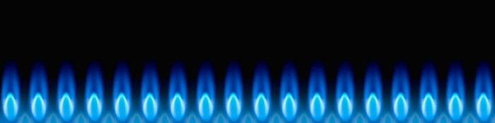 Row of blue natural gas flames burning