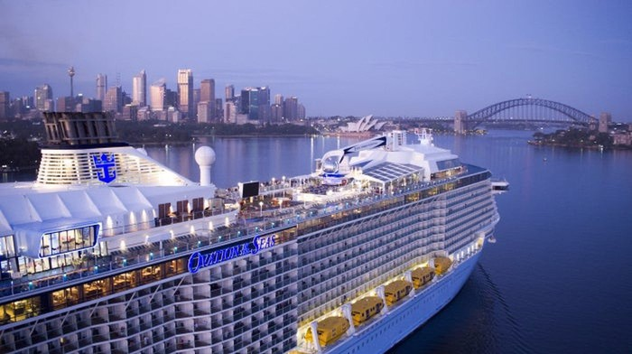 Cruise ship in a port with a city skyline and rainbow bridge nearby.