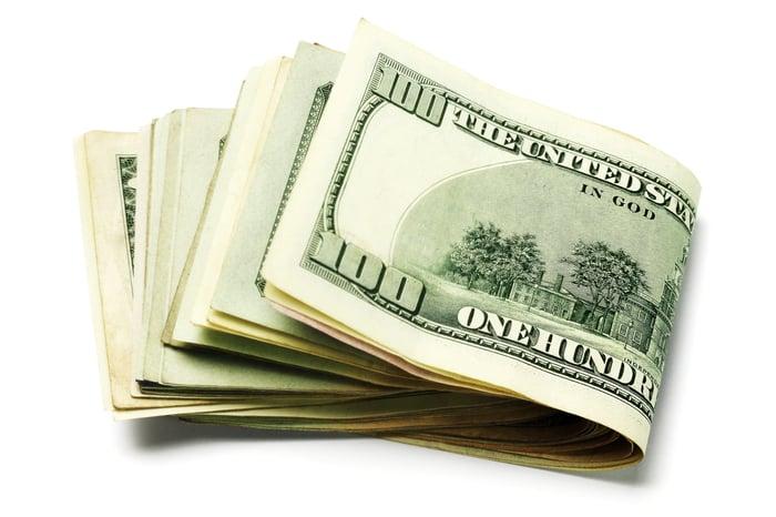Stack of folded-over 100 dollar bills