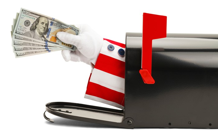 Uncle Sam's arm emerging from a mailbox with a fanned pile of one hundred dollar bills in his hand.
