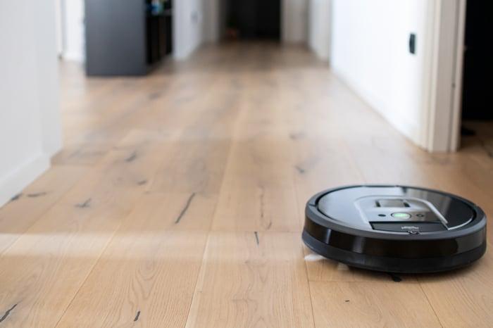 A robotic vacuum cleaner.