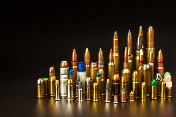 Colorful display of ammunition in different shapes and sizes