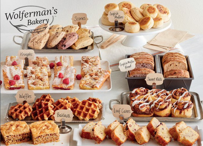 An assortment of food from Wolferman's Bakery, a 1-800-Flowers brand.