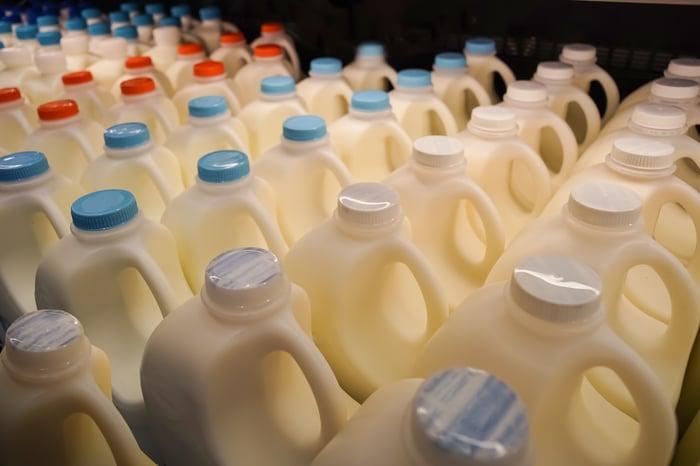 Bottled milk.