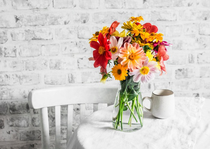 Flower bouquet on table