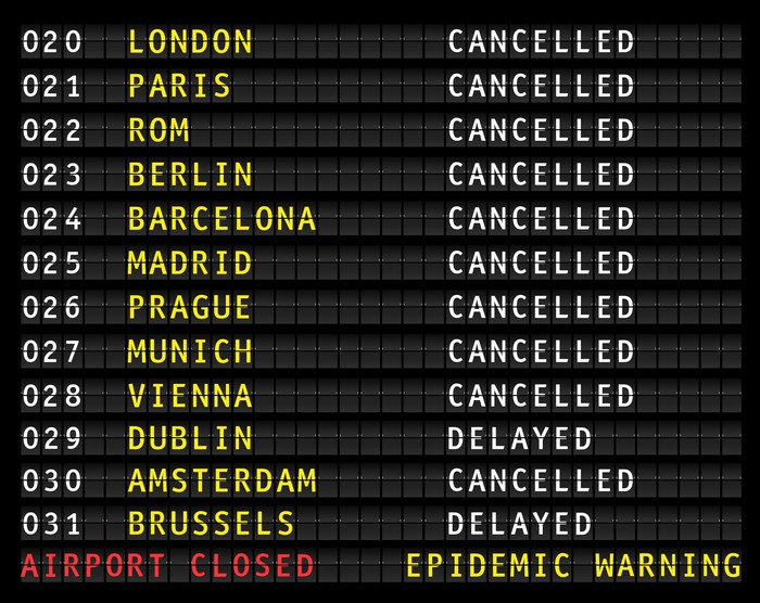 Airport flight board with everything canceled.