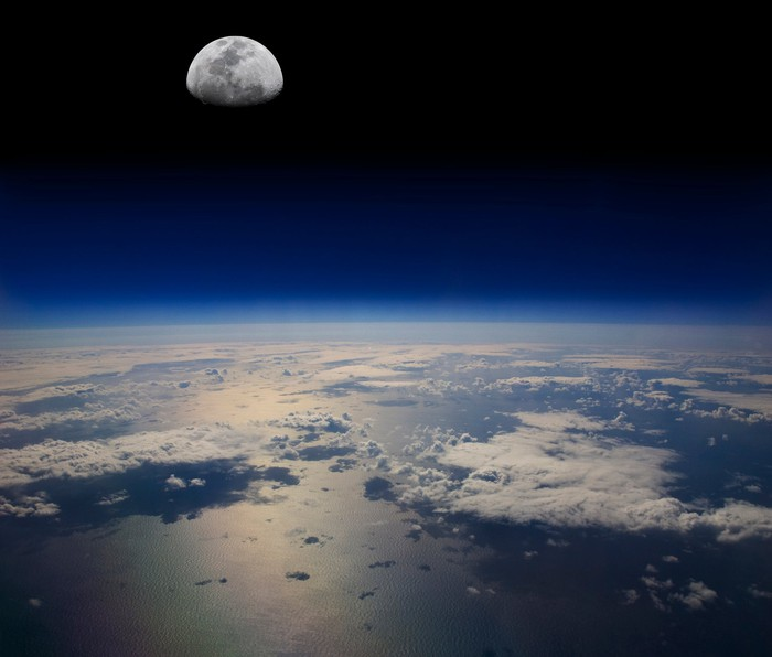 The moon as seen from above earth's surface.
