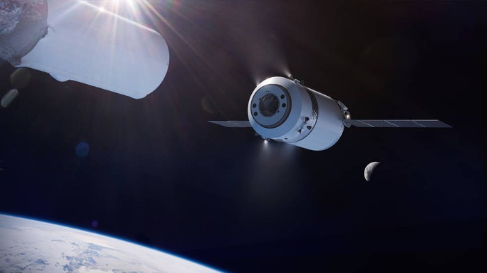 Representation of the artist of the SpaceX Dragon XL cargo spacecraft in orbit