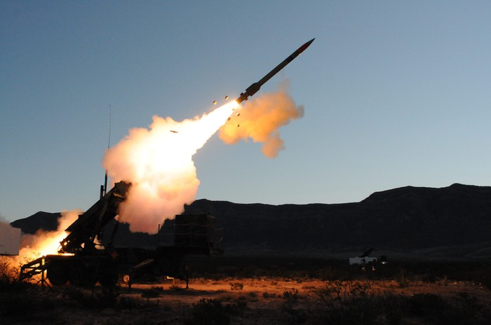 Patriot Advanced Capability-3 missile firing from its launcher.