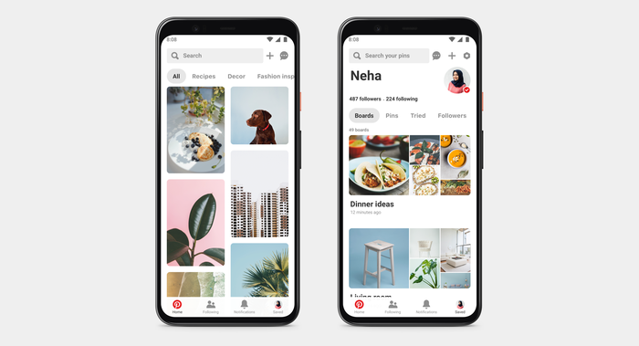 Two phones side by side displaying the Pinterest app.