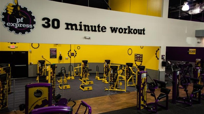 The inside of a Planet Fitness gym.
