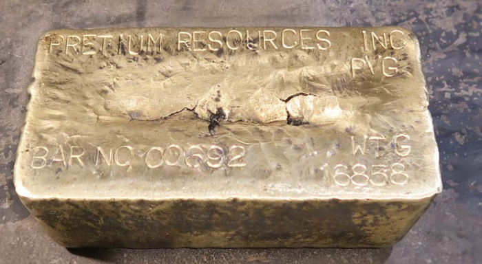 A gold bar imprinted with the name Pretium Resources