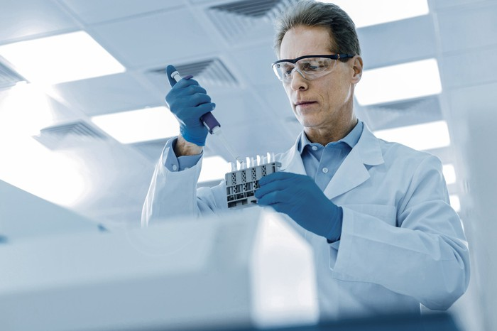 A man working in a research lab.