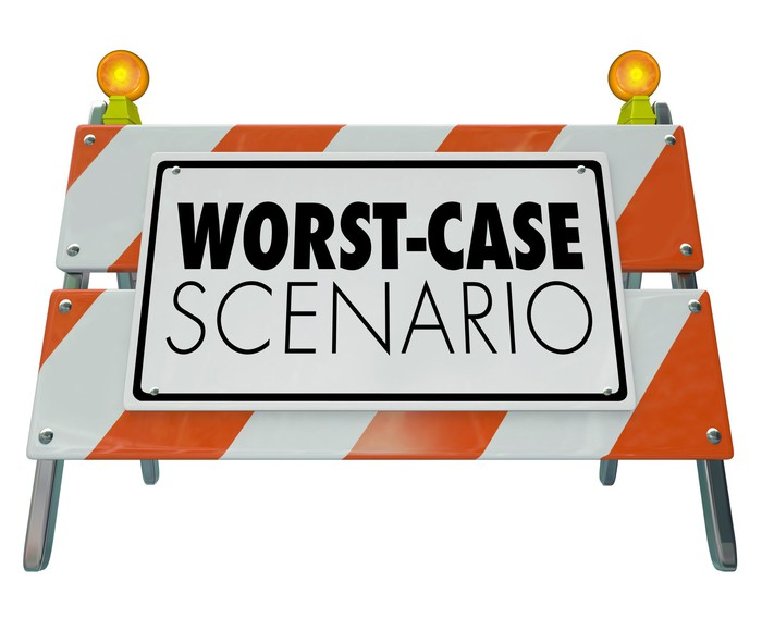 """Road-work-style sign with """"worst-case scenario"""" printed on it"""