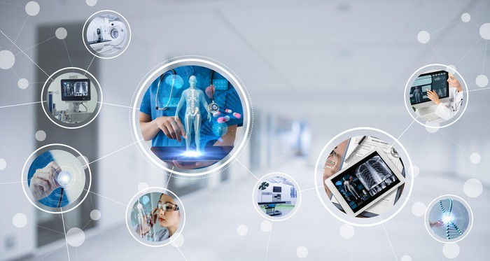 Connected bubbles with photos of medical equipment and doctors in them
