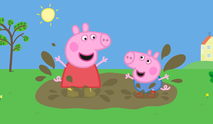 Two animated pigs splashing happily in the mud.
