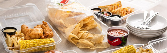 A takeout meal from Chili's.