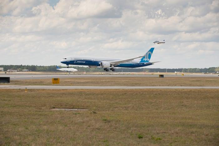 Boeing's 787 Dreamliner landing on a runway.