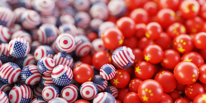 Balls adorned with American and Chinese flags.
