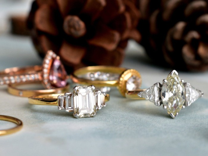 A collection of diamond rings.