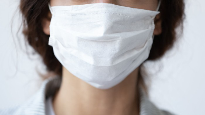 Surgical mask close up.
