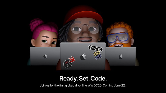 "A animated scene with three people peering over the top of laptops, with the words, ""Ready. Set. Code."""