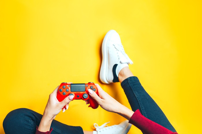 Women holding a game console sitting down against a yellow background.