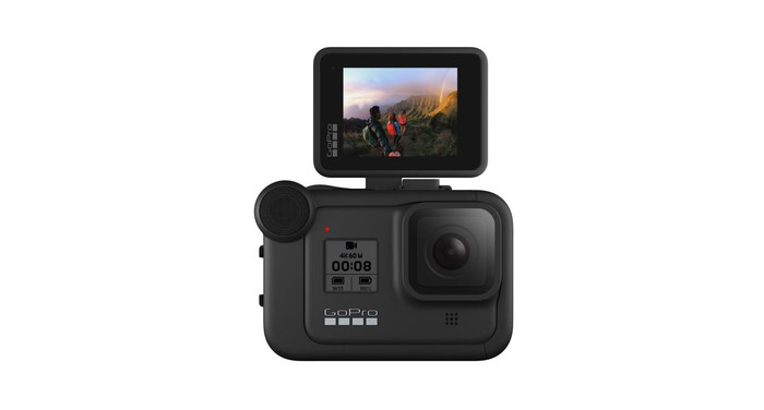 A GoPro Hero8 camera with a display modification attached.