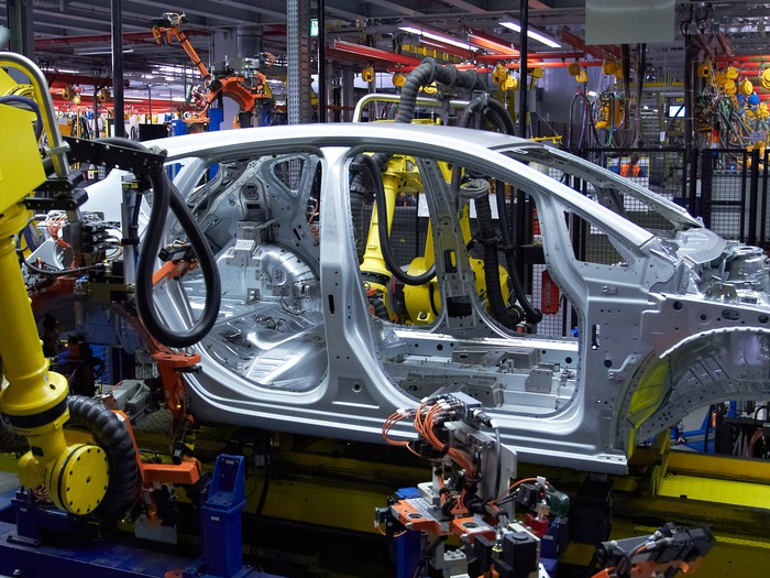 auto assembly line with car frame