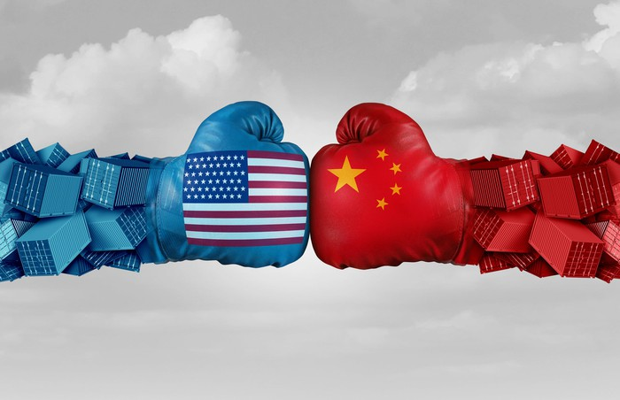 Boxing gloves featuring U.S. and China flags
