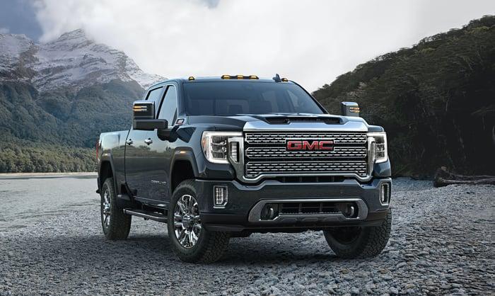 A 2020 GMC Sierra HD pickup truck
