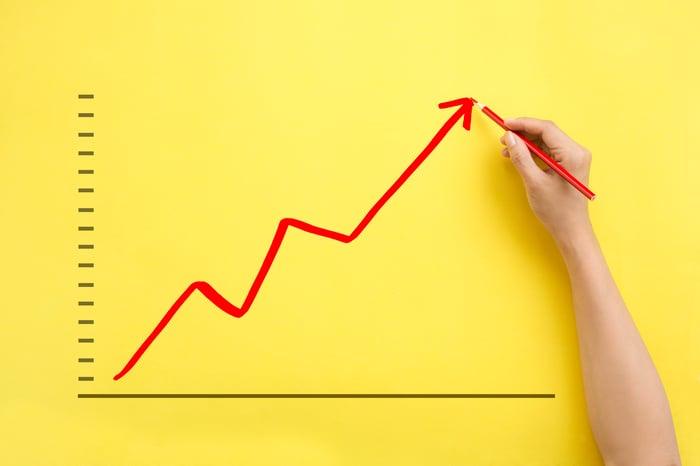 An upwardly trending arrow drawn on a chart.