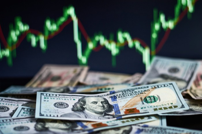 Rising stock chart in background of $100 bills.