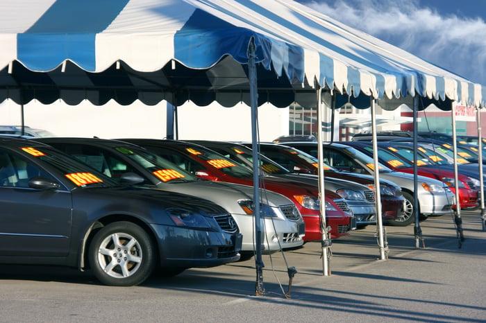 A row of cars at an auto dealership.