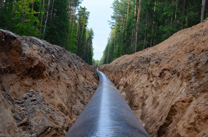 Construction on a natural gas pipeline.