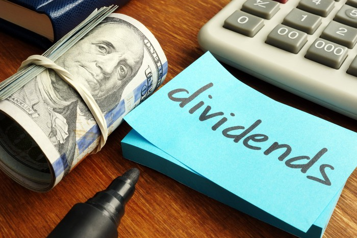 A desk top with a roll of bills, a calculator, and a card with the word dividends.