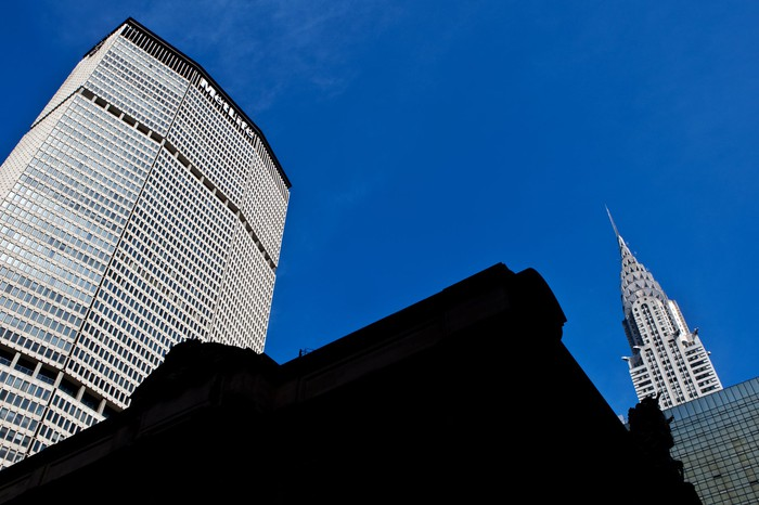 A view from the street of the MetLife building and Chrysler building in Manhattan.