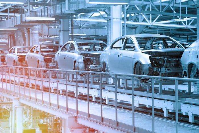 A car production plant.