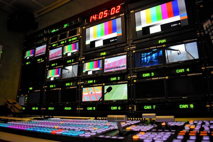 A sports broadcast control room