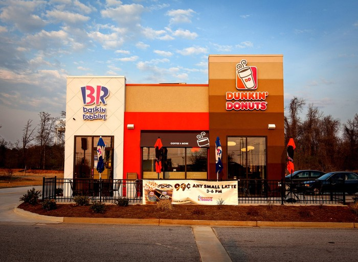 A joint Baskin Robbins and Dunkin' Donuts store